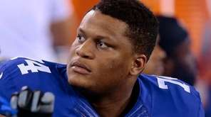 New York Giants offensive lineman Ereck Flowers looks