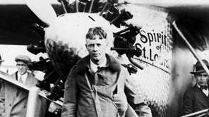 Charles Lindbergh and Spirit of St. Louis after