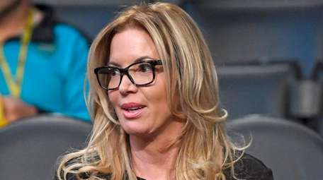Los Angeles Lakers president Jeanie Buss sits in