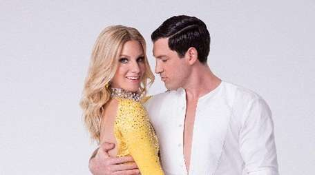 Heather Morris with Maks Chmerkovskiy, who is indefinitely