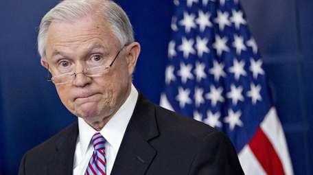 Jeff Sessions, U.S. attorney general, pauses while speaking