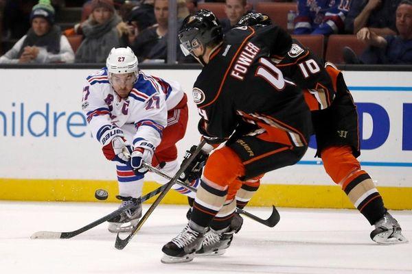 Rangers defenseman Ryan McDonagh battles for the