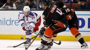 Rangers defenseman Ryan McDonagh battles for the