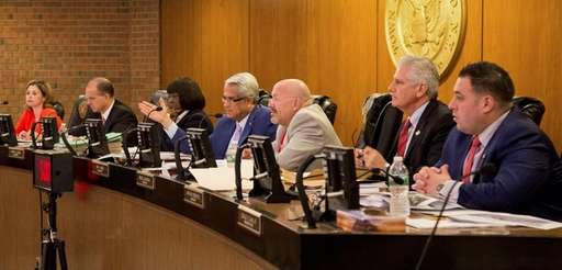 The Hempstead Town Board -- from left, members