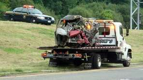 This vehicle was crushed in an accident that