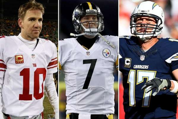This composite image shows, from left: Giants quarterback