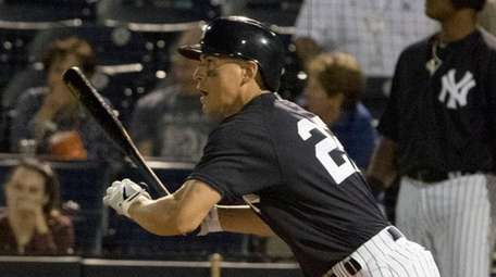 Yankees' Jacoby Ellsbury hits a double in third