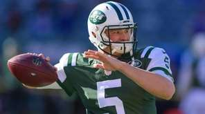 Jets quarterback Christian Hackenberg before start of game