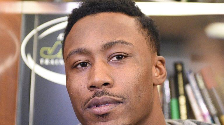 New York Jets wide receiver Brandon Marshall speaks