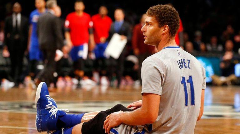 Brook Lopez #11 of the Brooklyn Nets looks
