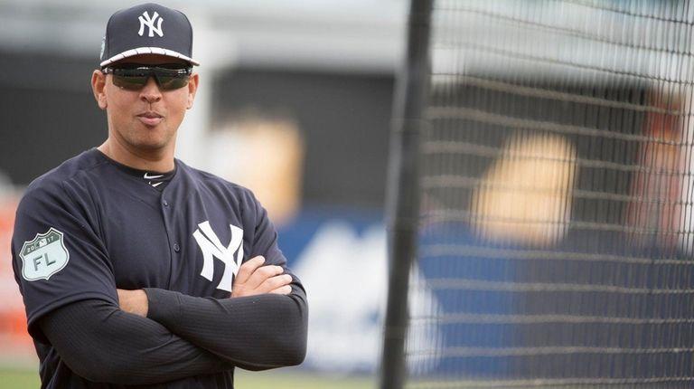 Former New York Yankeesthird baseman Alex Rodriguez looks