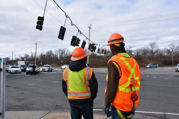 Route 110 in East Farmingdale was closed in