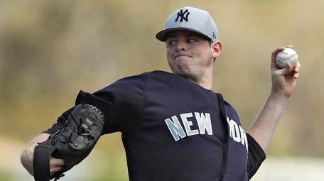 New York Yankees starting pitcher Jordan Montgomery delivers