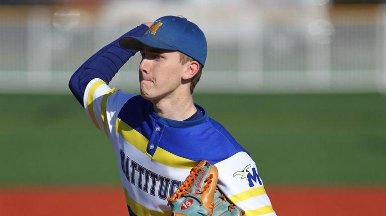 Mattituck's Bryce Grathwohl (1) throws a pitch in