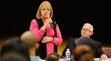 Islip Town Supervisor Angie Carpenter speaks Wednesday night,
