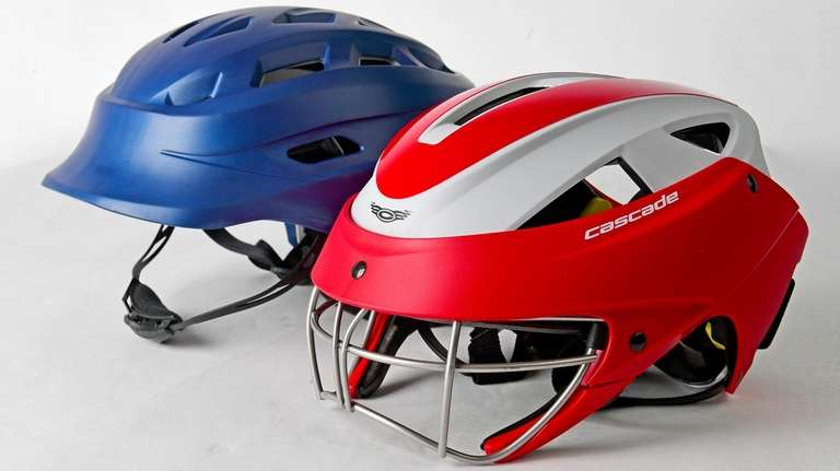 The Hummingbird Sports girls lacrosse helmet, left, and