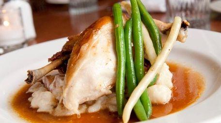 Roast chicken is served at Almond in Bridgehampton.