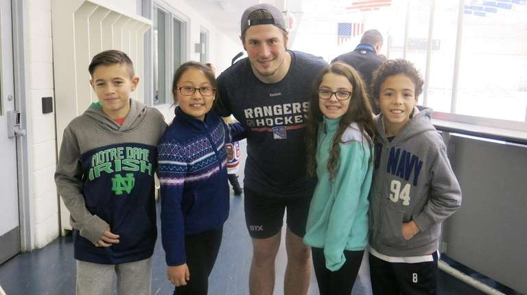 Rangers winger J.T. Miller with Kidsday reporters, from