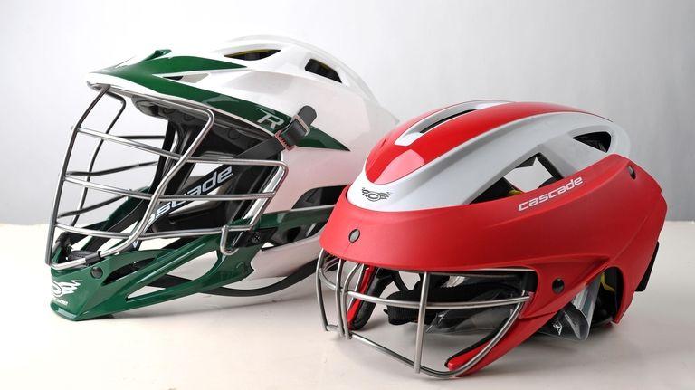 A Cascade R men's lacrosse helmet, left, and