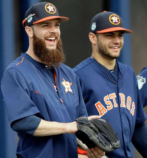 Houston Astros pitchers Dallas Keuchel, left, and Lance