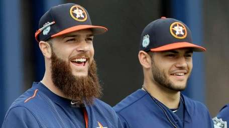 Houston Astros pitchers Dallas Keuchel, left, and Lance
