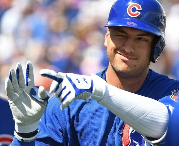 Albert Almora Jr. of the Chicago Cubs celebrates