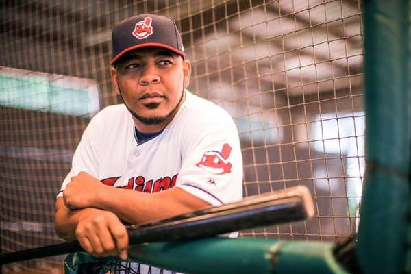Edwin Encarnacion of the Cleveland Indians poses for