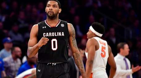 Sindarius Thornwell of South Carolina reacts against the
