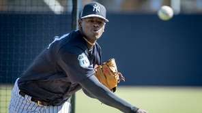New York Yankees pitcher Luis Severino pitches during batting practice