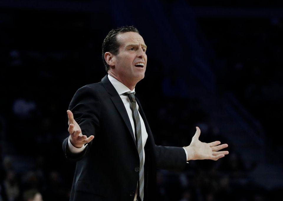 Brooklyn Nets head coach Kenny Atkinson gestures from