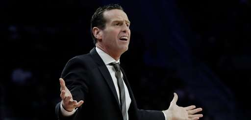 Brooklyn Nets head coach Kenny Atkinson gestures from