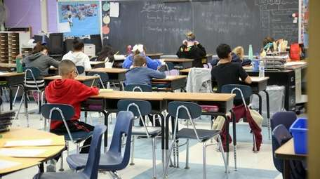 Fourth-graders at Oxhead Road Elementary School in Centereach,