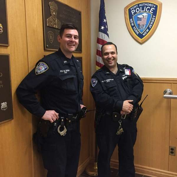 Quick-thinking Port Authority police officers Matthew Reen, left,