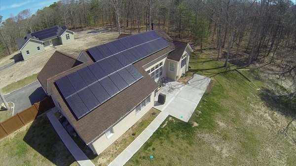 Aerial view of a solar-powered home, April 18,