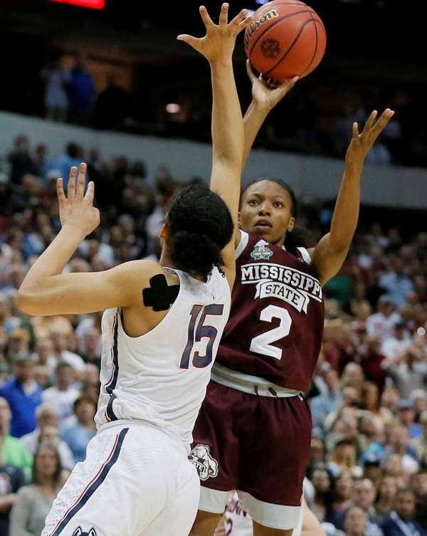Mississippi State guard Morgan William (2) shoots over