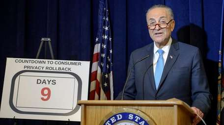 Sen. Chuck Schumer speaks during a news conference
