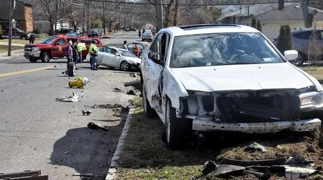 Police said two cars crashed on Sunday afternoon,