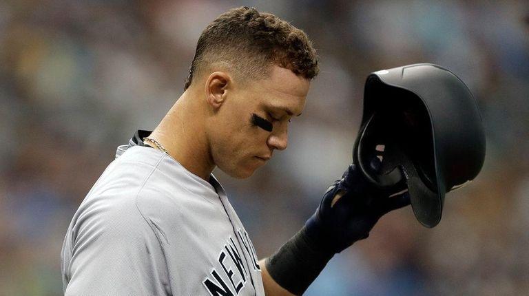 New York Yankees' Aaron Judge reacts as he