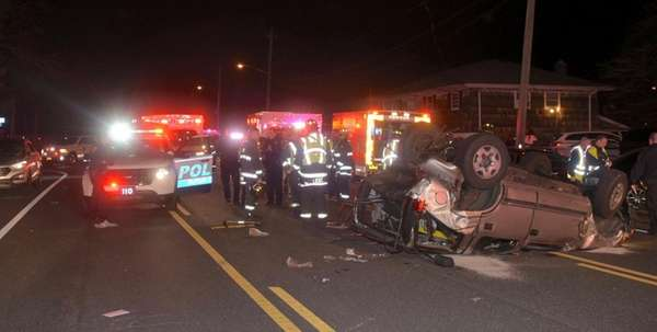 The North Lindenhurst Fire Department and Ambulances from