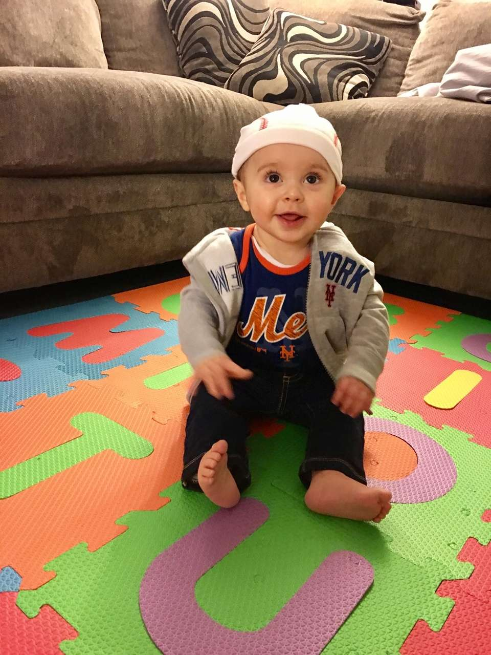 Luke's first Mets Game at 7 months old!