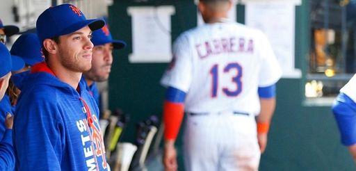 New York Mets starting pitcher Steven Matz looks