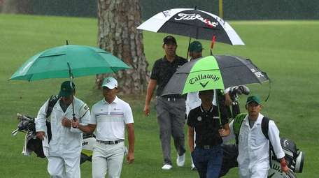 From left, golfers Si Woo Kim, Byeong Hun