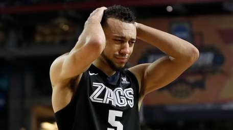 Gonzaga's Nigel Williams-Goss (5) reacts after the finals