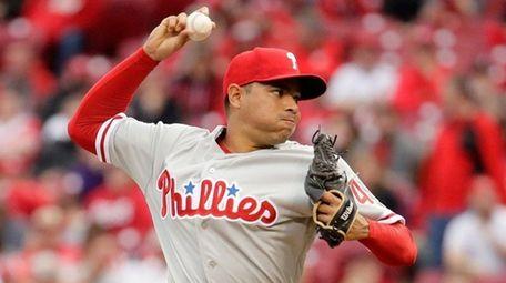 Jeanmar Gomez #46 of the Philadelphia Phillies throws