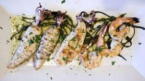 Grilled calamari and shrimp at Mykonos in Great