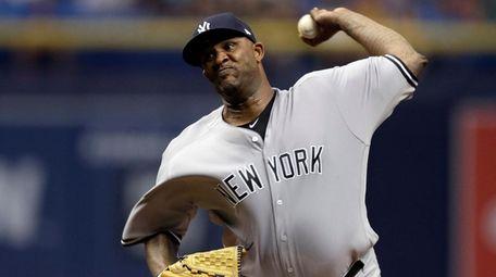New York Yankees' CC Sabathia threw five innings