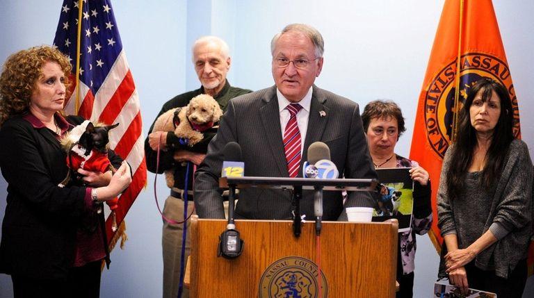 Nassau County Comptroller George Maragos held a news