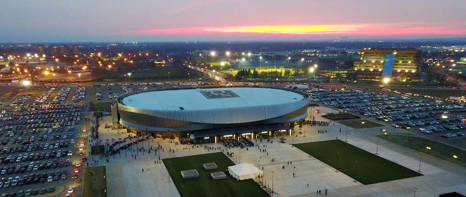 An aerial view of the renovated Nassau Coliseum