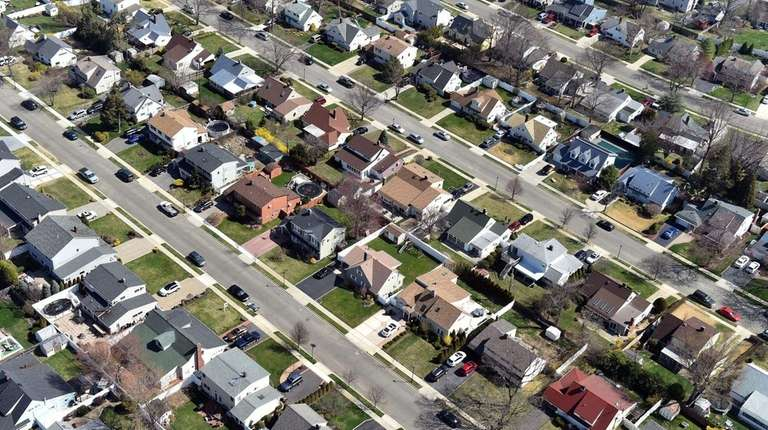 Aerial views of Levittown homes in Nassau County,
