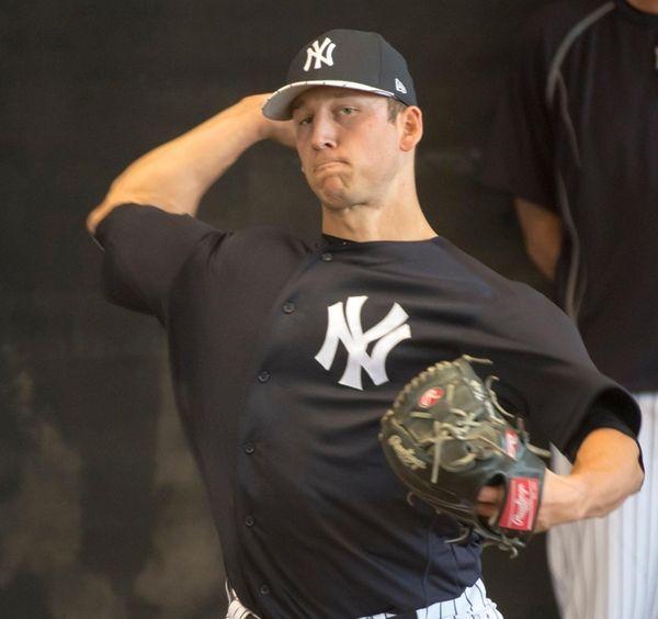 Yankees pitcher James Kaprielian throwing in the bullpen
